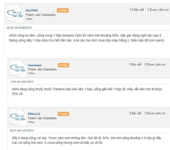 Transino 240 viên review trên ebay, webtretho 2020